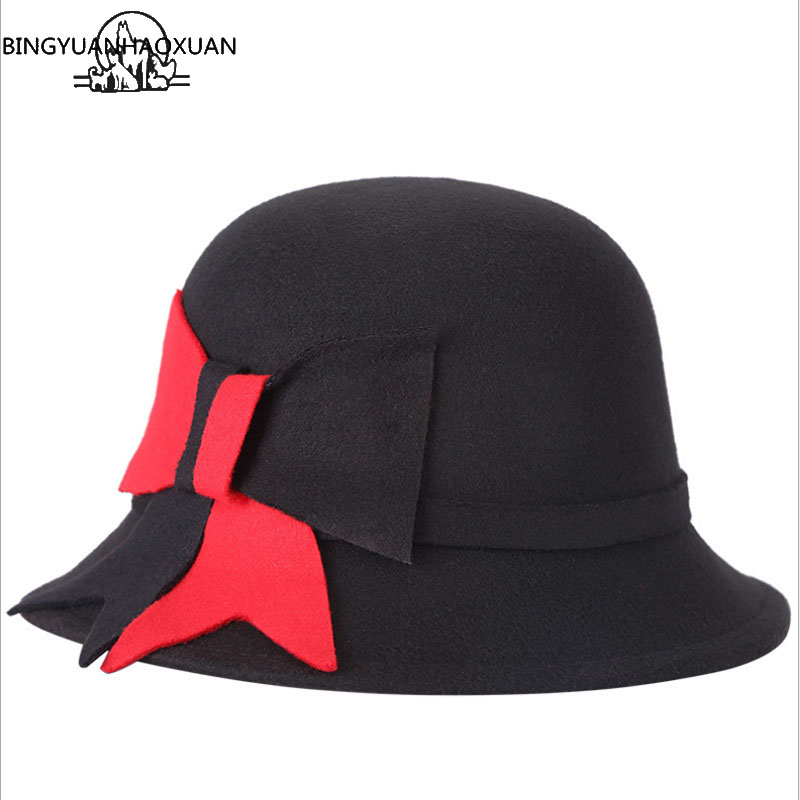 BINGYUANHAOXUAN 2018 Women Ure Felt Wool Bowler Black Fedora Hat Elegant Flowers Plush Bell Cap Retro Casual Red Hats
