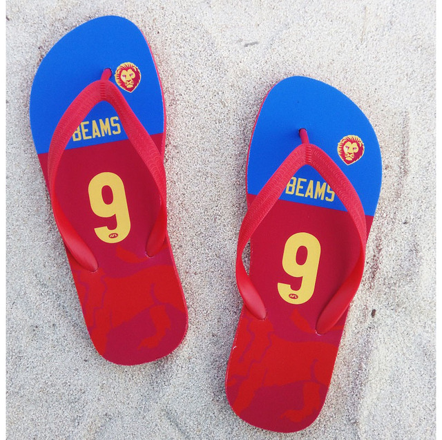 4fd301fe9ffb Brisbane Lion Slipper Beams Any Name Number Flip Flops Fans Swimming  Australia Football Beach Shoes Portable Material