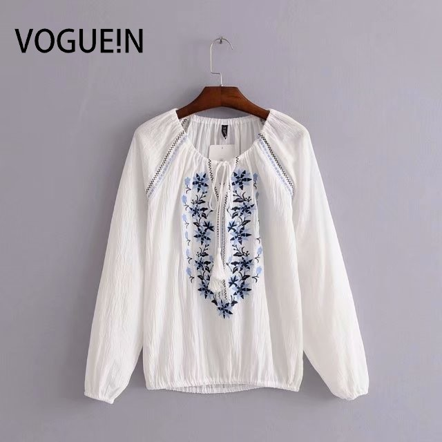 VOGUEIN New Womens Ethnic Blue Floral Embroidered Long Sleeve   Blouse     Shirt   Top Wholesale