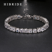 HIBRIDE JEWELRY Fashion AAA+Square CZ Sport Tennis Bracelets for Woman Box Chain Metal Bracelet B-19