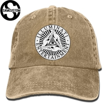 6e148be0 SAMCUSTOM Illuminati God's gesture 3D Creative personality Washed Denim Hats  Autumn Summer Men Women Golf Sunblock