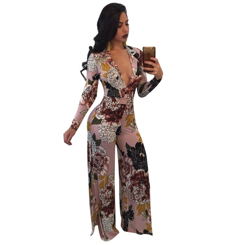 NEW Womens Plus Size Fashions 3XL Floral Print Casual Sexy Outfit Bandage Women Casual Sexy Fashion Rompers Women Rave Festival