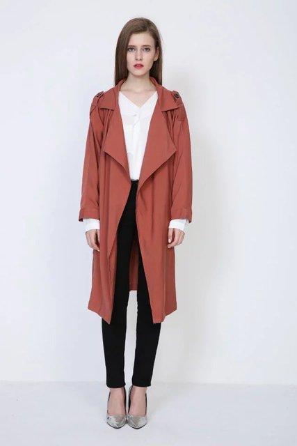 2016 новое прибытие весна мода/Вскользь женщин Пальто Шанца длинные Пиджаки свободная одежда для леди хорошим качеством бесплатная доставка Sm L
