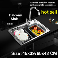 Free shipping Balcony kitchen sink food grade 304 stainless steel 0.7 MM small single slot hot sell 45x39/65x43 CM