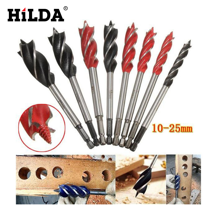 цена на HILDA 1pcs 10-25mm woodworking Hole Opener Reaming Drill Four Holes Drilling 4 Cutters Center Drill Bit For Wood Cut Suit