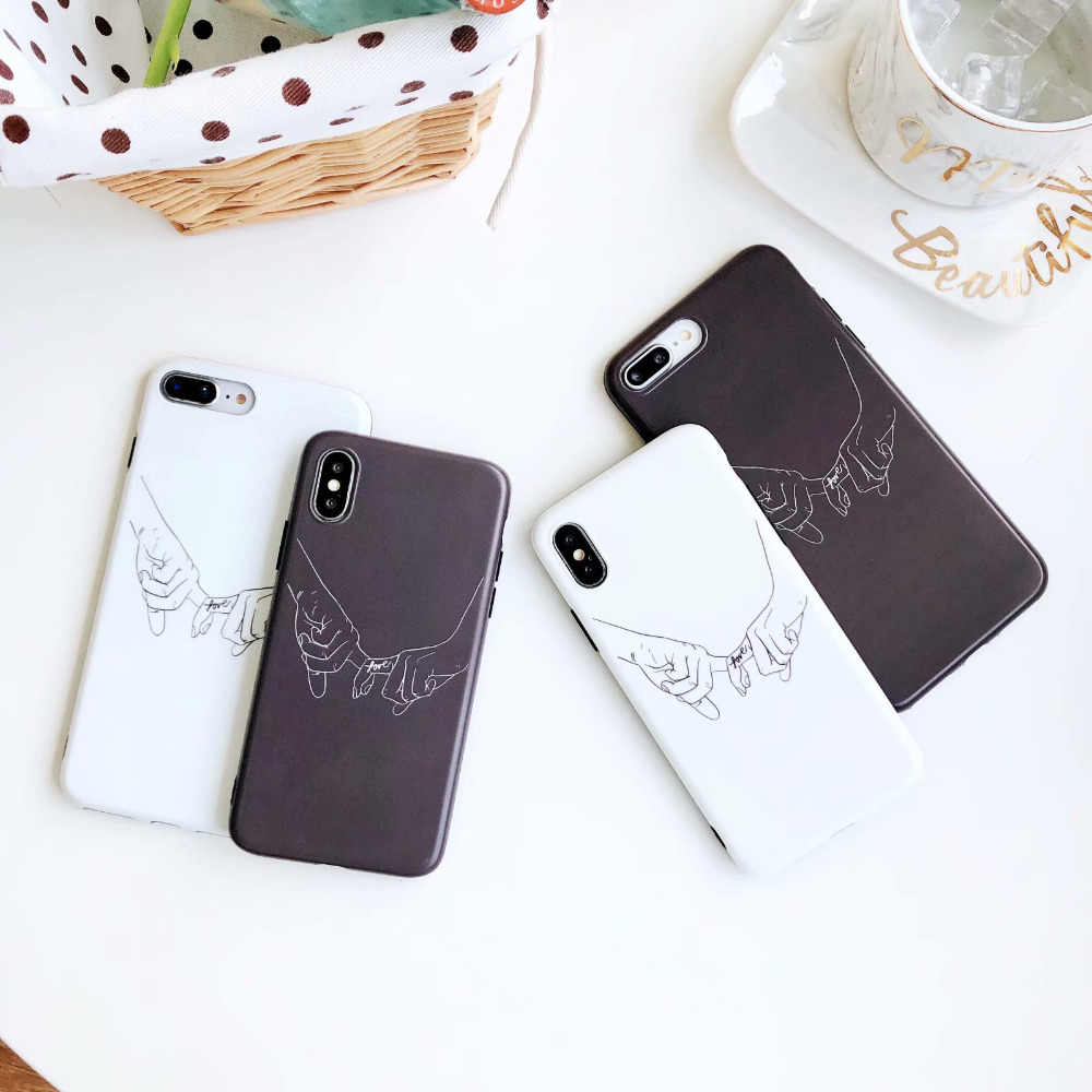 0bcaf5ef4a ... IMD White Black Holding hand Couple Silicone Case For iPhone 7 Plus X 8  Plus XS ...
