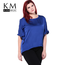 kissmilk 2016 Women Plus Size Cape Sleeve Hollow Out Summer Casual Asymmetrical Hem Tops T-Shirt contrast binding asymmetrical hem knit tee