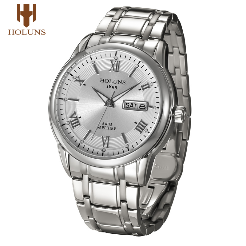 ФОТО  original Holuns business men wristwatch stainless steel 40mm big dial vision military mens quartz watches top brand luxury 2017