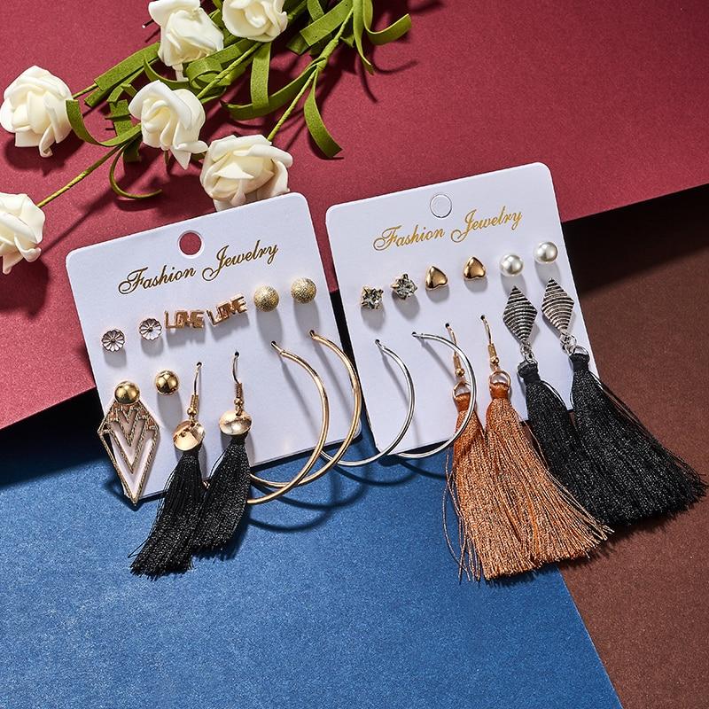 MISANANRYNE 22 Style Geometric Hoop Earrings For Women Vintage Rhombus Big Earrings Set 2019 Female Bohemian Jewelry in Hoop Earrings from Jewelry Accessories