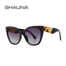 SHAUNA Rivet Decoration Mixed Colors Arm Retro Cat Eye Sunglasses Women Brand Designer Oversize Gradient Shades