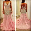2015 Vestido De Festa Sexy V Neck Sleeveless Crystal Beading A Line Pink Chiffon Long Prom Evening Dress New DYQ962