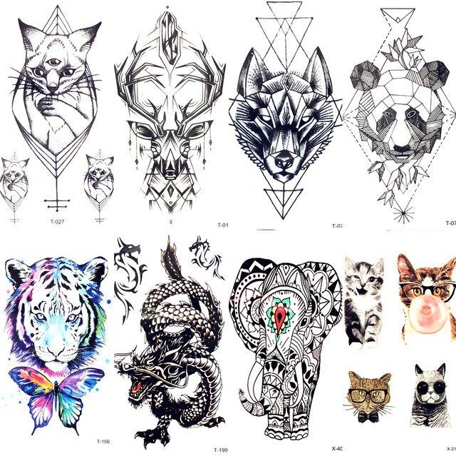 Геометрическая кошка лося волк временная татуировка Женское боди-арт переводная татуировка Мужская макияж тату наклейка браслет олень животное зоо