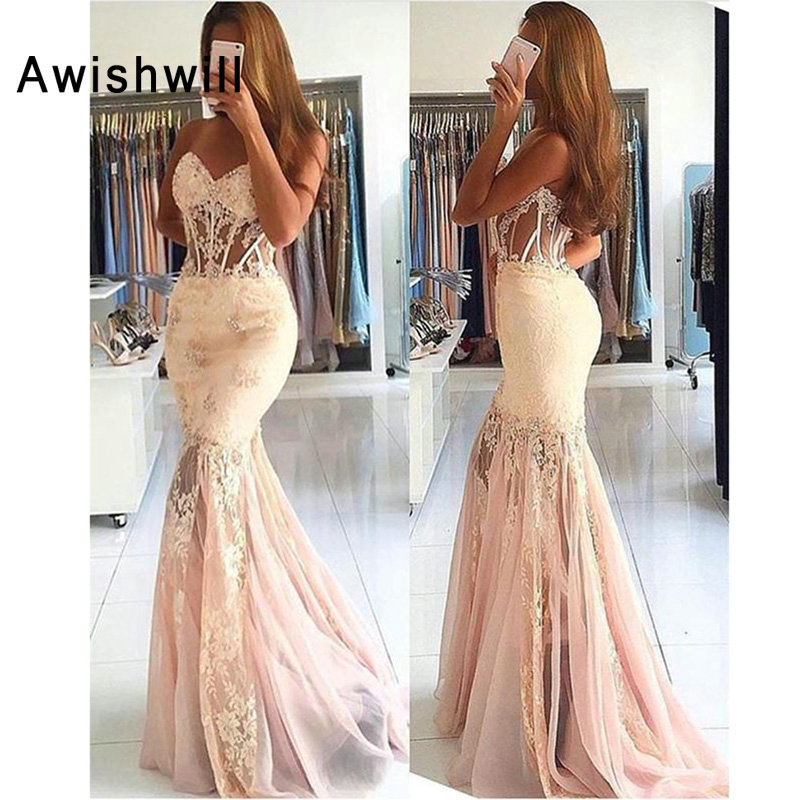 Sexy   Prom     Dresses   Mermaid Sweetheart Tulle Lace Beaded Party Long Formal Gown Evening   Dress   Floor Length Robe De Soiree