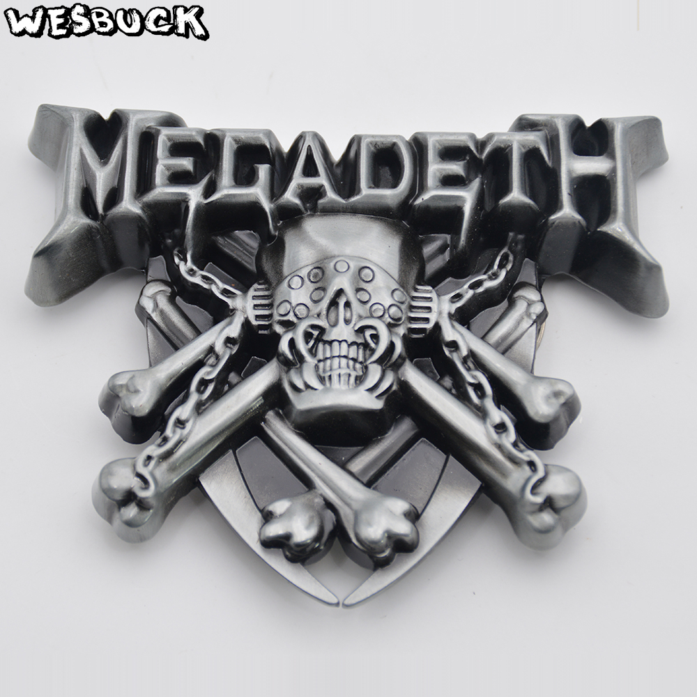 WesBuck Brand 3D Megadeth Band Rock Music Belt Buckle With PU Belt