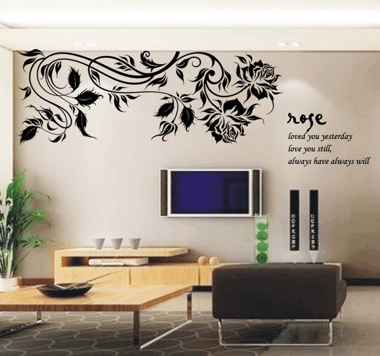 Romantic Rose Love Wall Stickers Wall Covering Color 150*75cm Baby .
