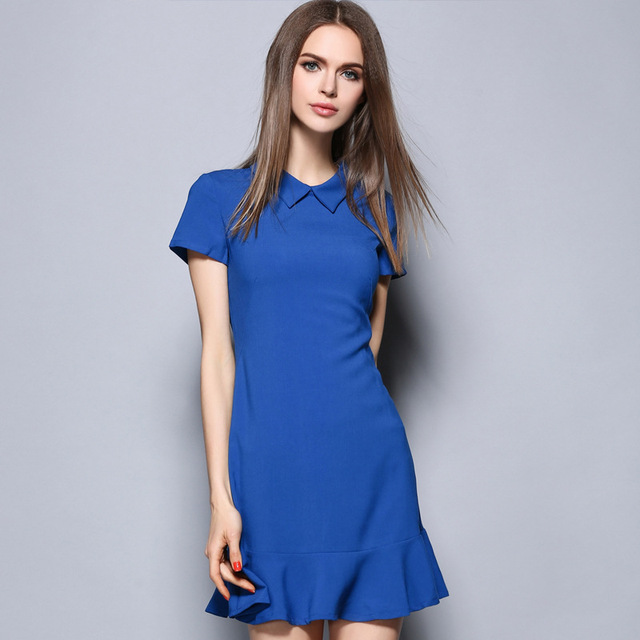 Women Plus Size Blue Draped Ruffles Bodycon Summer Sundress Short