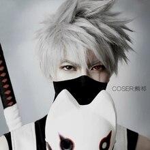 Naruto hatake kakashi prata cinza curto cosplay peruca de cabelo sintético halloween traje festa perucas + peruca boné