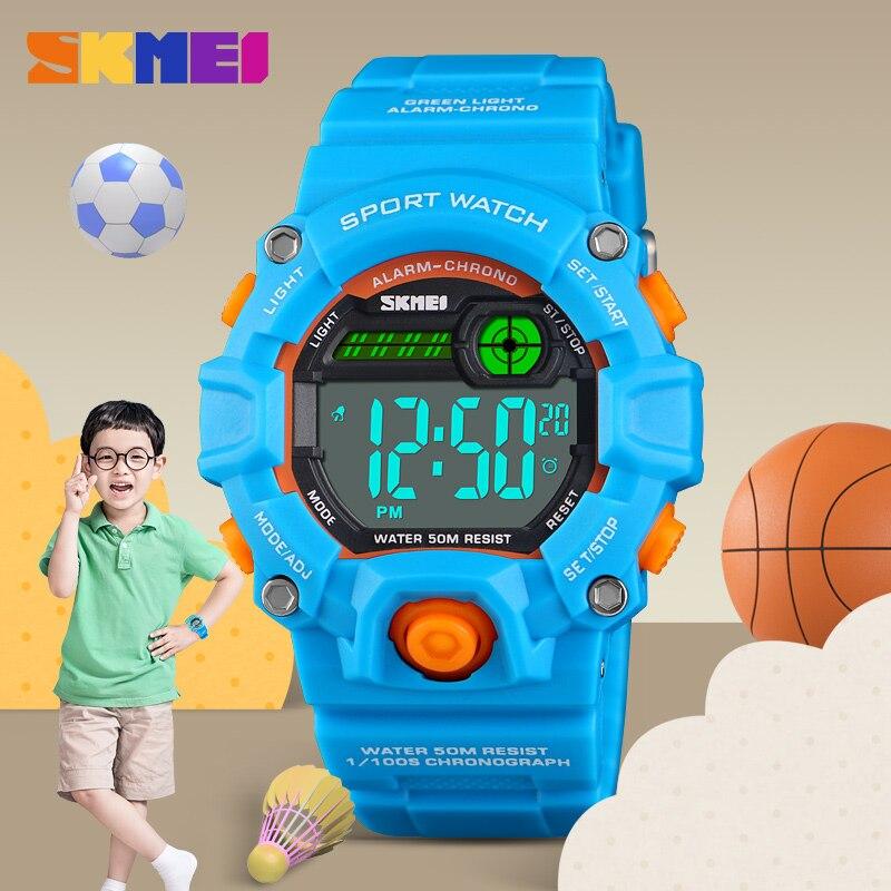 Kids Watches Boys Waterproof Sports Digital Led Wristwatches Pu Strap Hot Fashion Girl's Watch Luxury Brand Skmei Student Clock