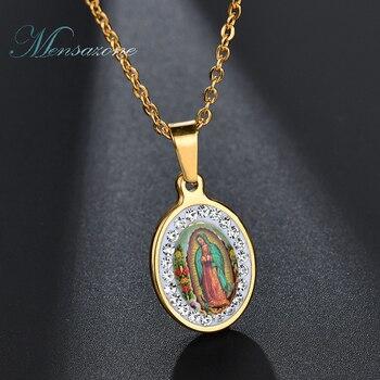 c486add06afc MENSAZONE nuevo collar de piedra CZ Color dorado Acero inoxidable Virgen  María colgantes collares para joyería religiosa católica