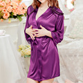 Hot 2016 Autumn Women Nightgown Sleepshirts Satin Lace Patchwork Long Sleeve Soft Night Dress Sexy Lingerie Sleepwear Pijama Y1
