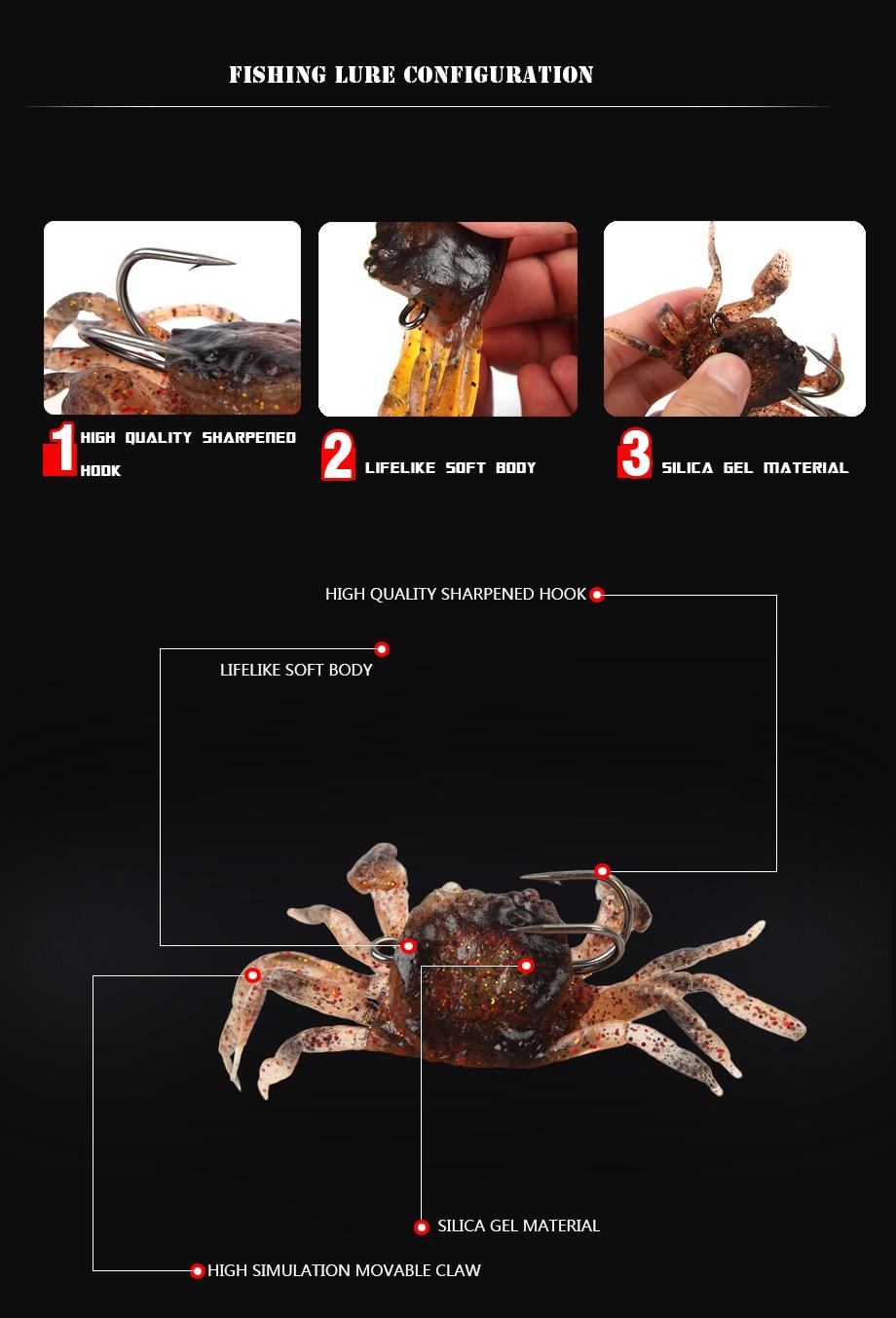 Leurres Souples imitation crabe 8cm 35g, vendus par 5
