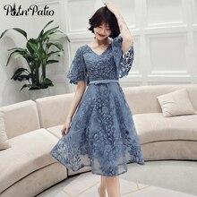Elegant Short Evening Dresses 2019 Plus Size V neck A line Hot Fix Rhinestone Lace Birthday Party Dresses