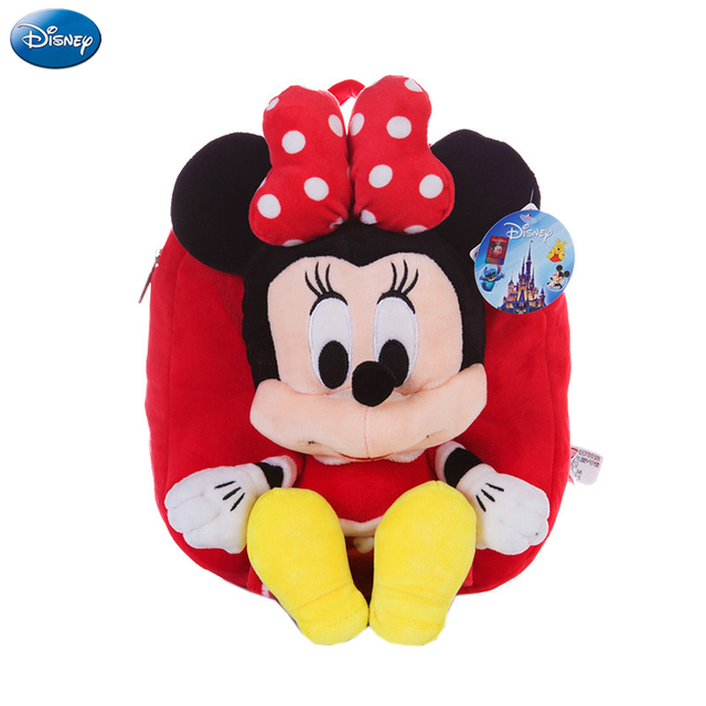 genuine disney backpack mickey mouse minnie 25cm plush cotton stuffed doll kawaii kindergarten bag christmas gifts - Disney Christmas Gifts