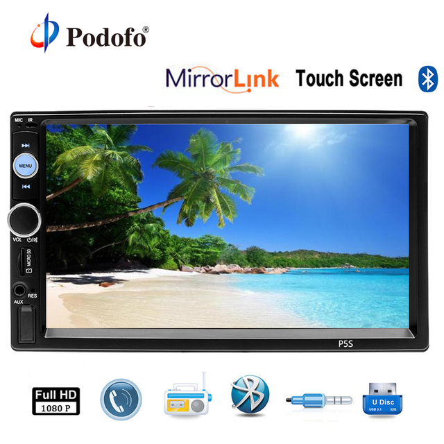 size 40 228dd 1a184 US $42.99  Podofo Car Multimedia Player with IOS/Android Mirror Link  Bluetooth Autoradio 2 Din 7