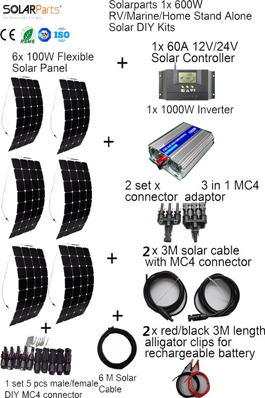 BOGUANG 6x100W off-grid Solar System KITS flexible solar panel +controller+inverter+cable+adaptor for RV/Marine/Camping/Home dc house usa uk stock 300w off grid solar system kits new 100w solar module 12v home 20a controller 1000w inverter