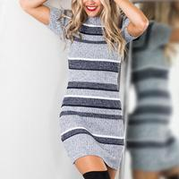 Autumn Knitting Sexy Dress Short Sleeve Party Skinny Knitted Striped Warm Sweaters Dresses Casual Women Clothing