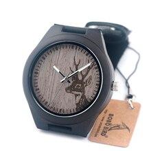 BOBO de AVES G03 Mens Relojes de Madera Marca Grabado Deer Head Diseño Luxuey uomo orologi Relojes de Cuarzo en Caja de Regalo De Madera