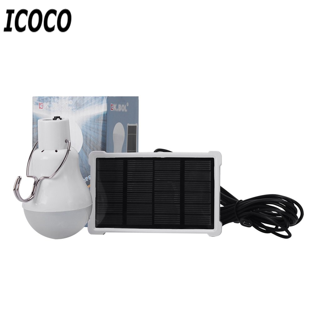 ICOCO 1500mah Lithium Battery Rechargeable Solar Powered LED Bulb Lamp+Solar Panel for Fishing Camping Home Emergency Light