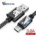 TIEGEM 1 M 2 M 3 M USB Cable de tipo C USB-C teléfono móvil de carga rápida cable de carga USB para xiaomi mi 8/8x honor/Samsung S9 S8
