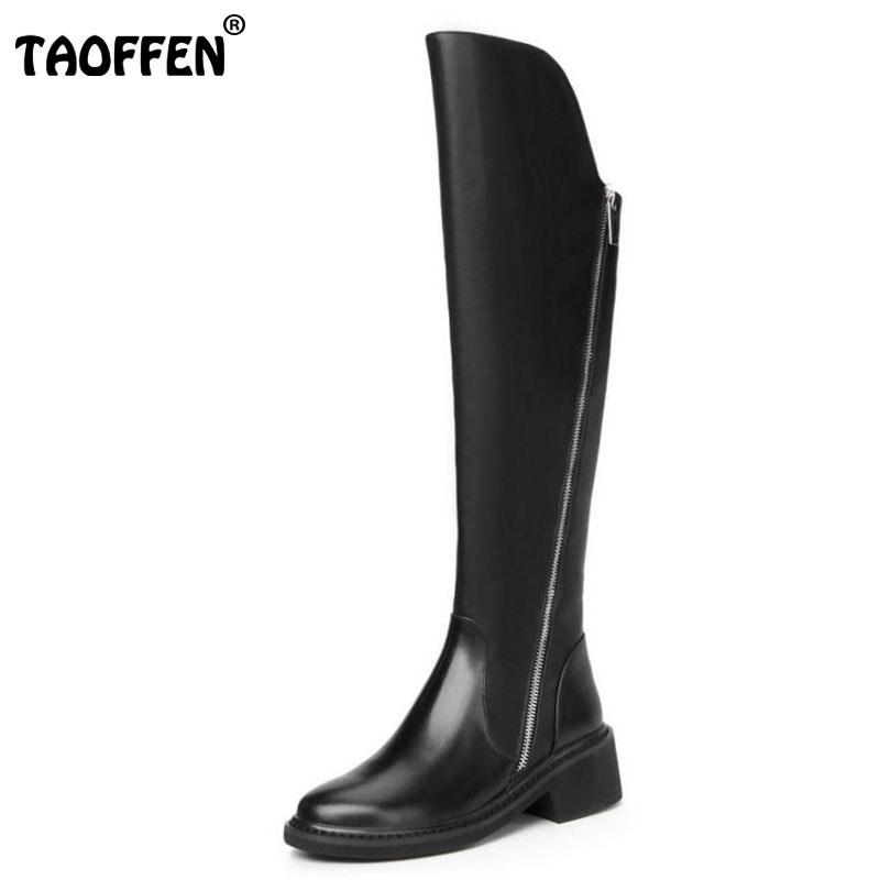 TAOFFEN Women Genuine Leather Over Knee Boots Zipper High Heel Boots Fur Warm Shoes Winter Long Botas Women Footwear Size 34-39 pritivimin fn81 winter warm women real wool fur lined shoes ladies genuine leather high boot girl fashion over the knee boots