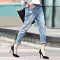 Mulheres de Jeans de lavagem água buraco harém calças calças mendigo calças femininas Jeans clássicos