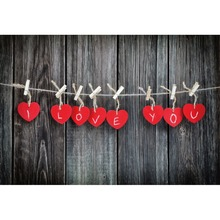 Laeacco Wooden Boards Red Hearts I Love You Wall Portrait Scene Photography Backgrounds Photographic Backdrops For Photo Studio