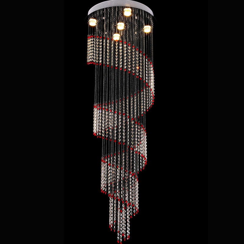 Red Long Stair Light K9 Lustre Led Crystal Chandelier