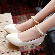 2016 New Spring Chunky Heels Pointed Toe Low Heel Pumps Beige Pink White Fashion Women's Career Shoes Comfort