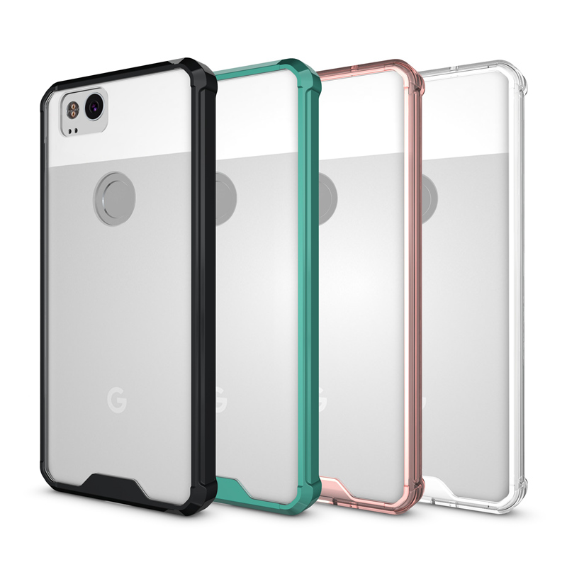 Hot Hybrid Shockproof Cover Air Cushion Frame Case With Acrylic Crystal Clear Back Shell For Google Pixel 2 / Google Pixel 2 XL