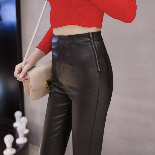 3255a31fd4 pencil Pants Women Plus Size Winter Leather Pants Warm Velvet Pant High  Waist Trousers Women Thick Stretch Pantalon Femme