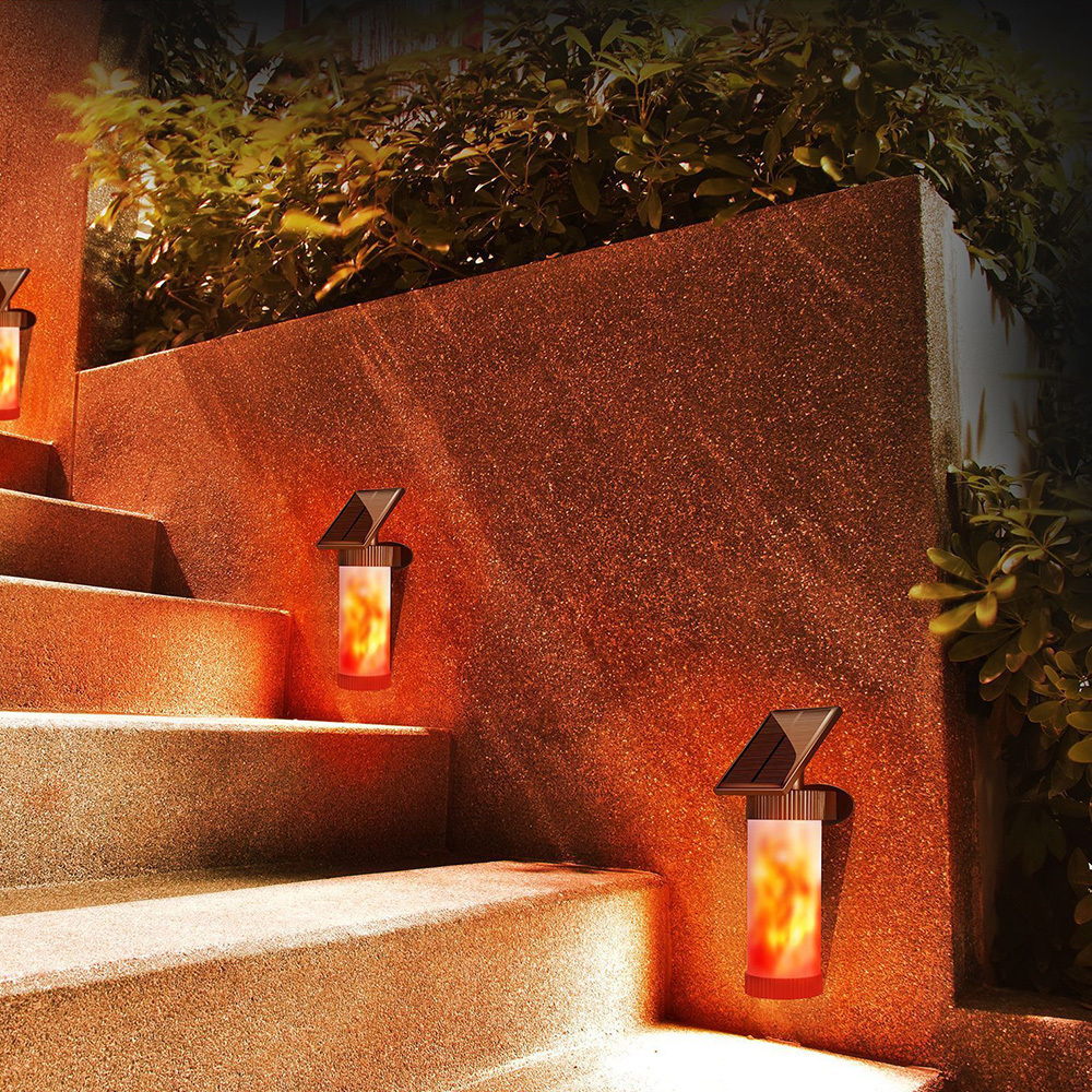 Path Torch Dancing Flame Light LED Solar Powered Flickering Outdoor Garden Lamp Lawn Lamp Garden Landscape Light