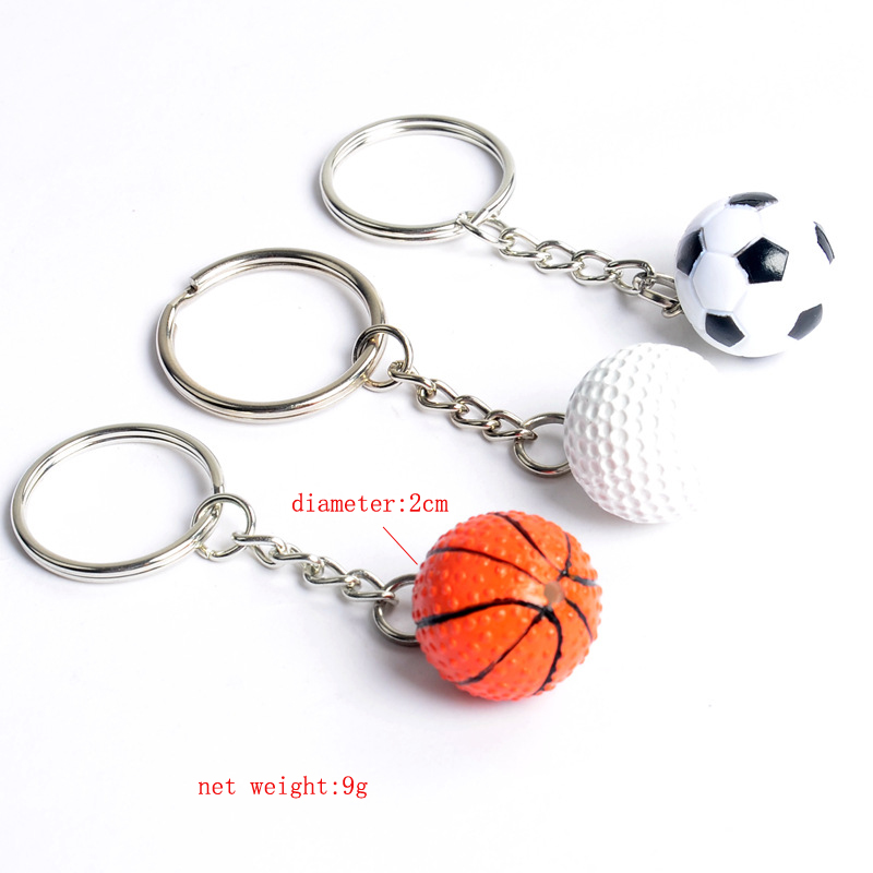 Golf Soccer Basketball Keychain Key Ring 3D Football Keychain Key Holder Creative Portachiavi Bag Charm Llaveros Hombre