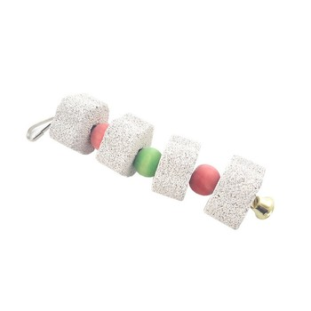 Hot Pet Parrot Mineral Grinding Stone Toy Teeth Molars Stone Hanging String Chewing Toy Bird Cage Parakeet Cockatiel Toy