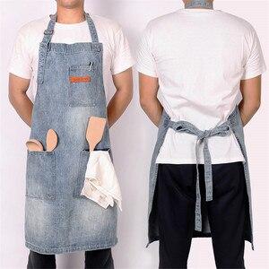 Image 5 - WEEYI Kitchen Restaurant Work Denim Apron Cowboy Chef Cooking Kitchen Apron For Woman Men Cafe Shop BBQ Hairdresser delantal