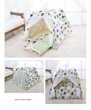Stand dog tent cotton house four corner pet animal pattern seasons easy to clean and carry
