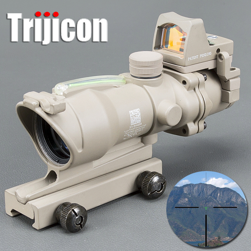 Tan ACOG 4X32 Tan Tactical Real Fiber Optic Green Illuminated Collimator Red Dot Sight Hunting Riflescope passionata lovely passio
