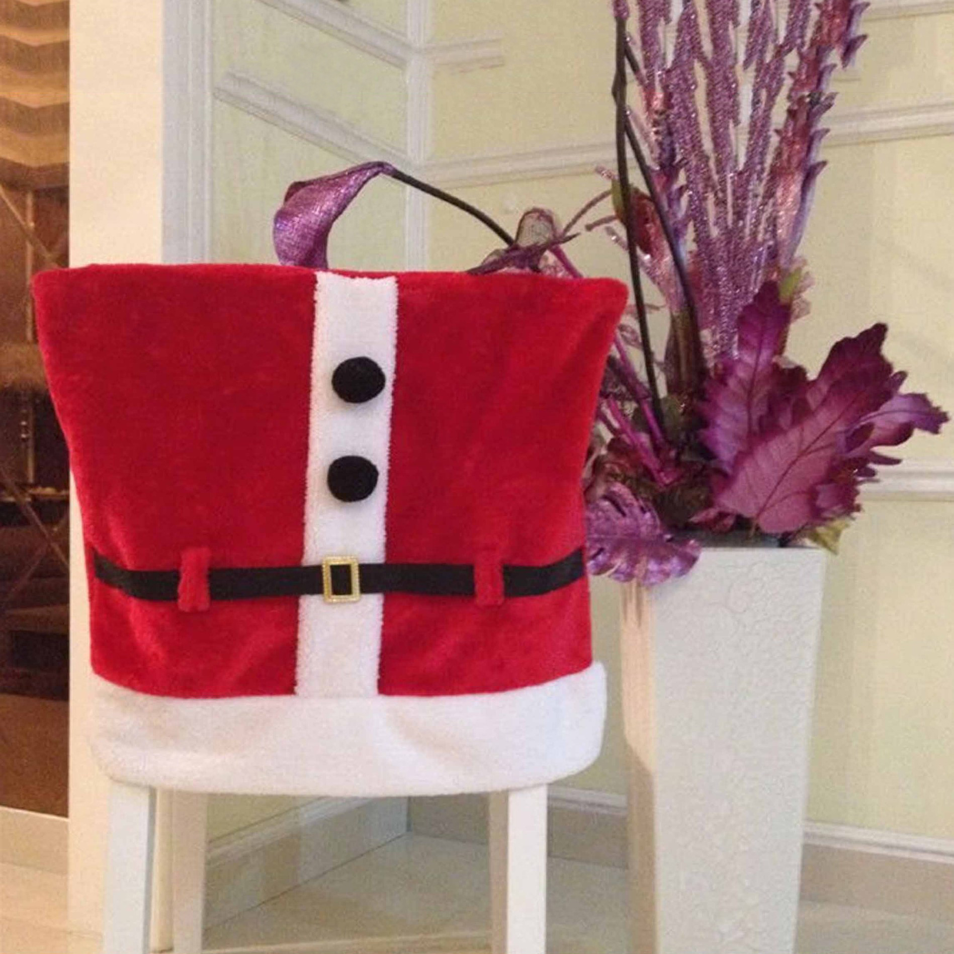 Kirklands Christmas Chair Covers Wooden Folding Chairs Santa With Belt Buckle Red Cover Seat Back