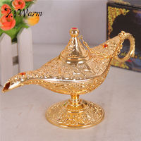 KiWarm Metal Carved Aladdin Lamp Light Wishing Tea Oil Pot Decoration Collectable Saving Collection Arts Craft