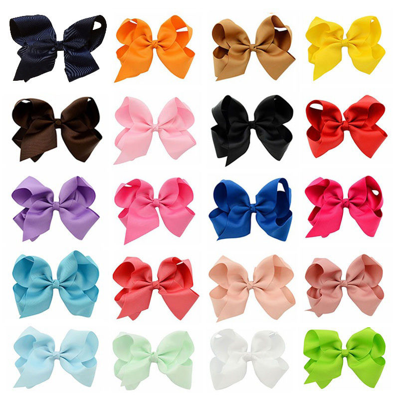 20 pcs/lot 6 Inch Grosgrain Ribbon Bows Hairpins Girl Bowknos