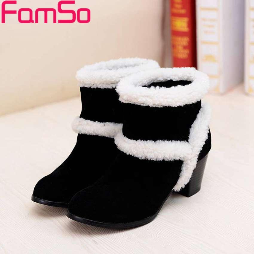 Plus Size34 43 2016 New font b Women b font Snow Boots Thick Heels Autumn Riding